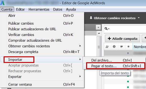 Importar programación horaria en el editor de Adwords