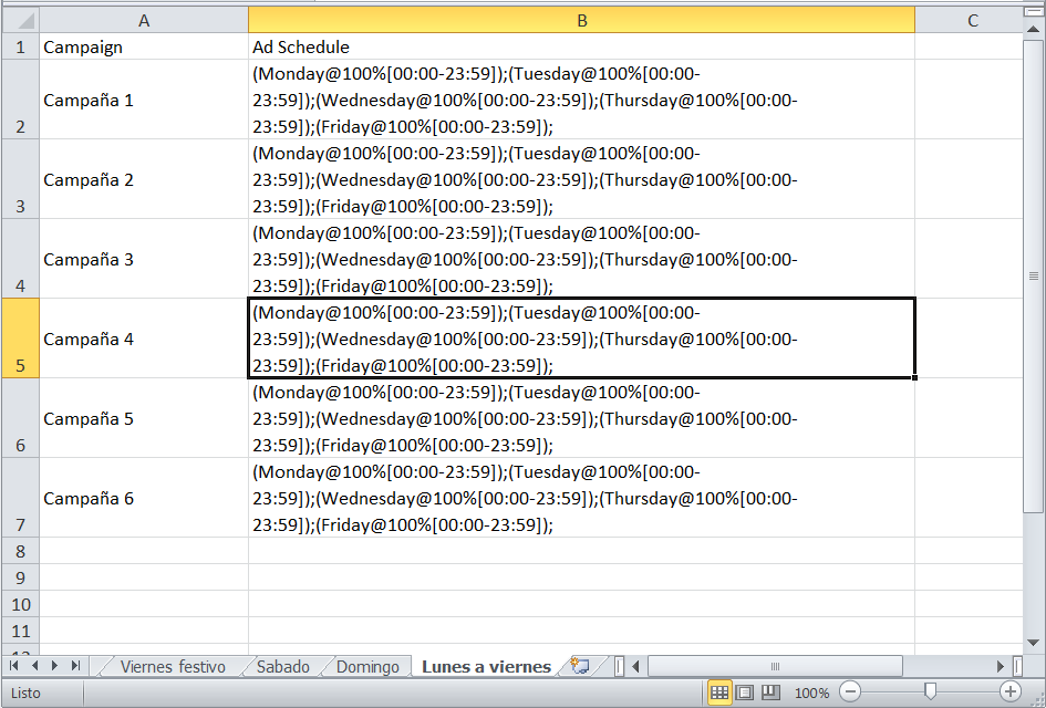 Programación horaria de Adwords en un documento de Excel